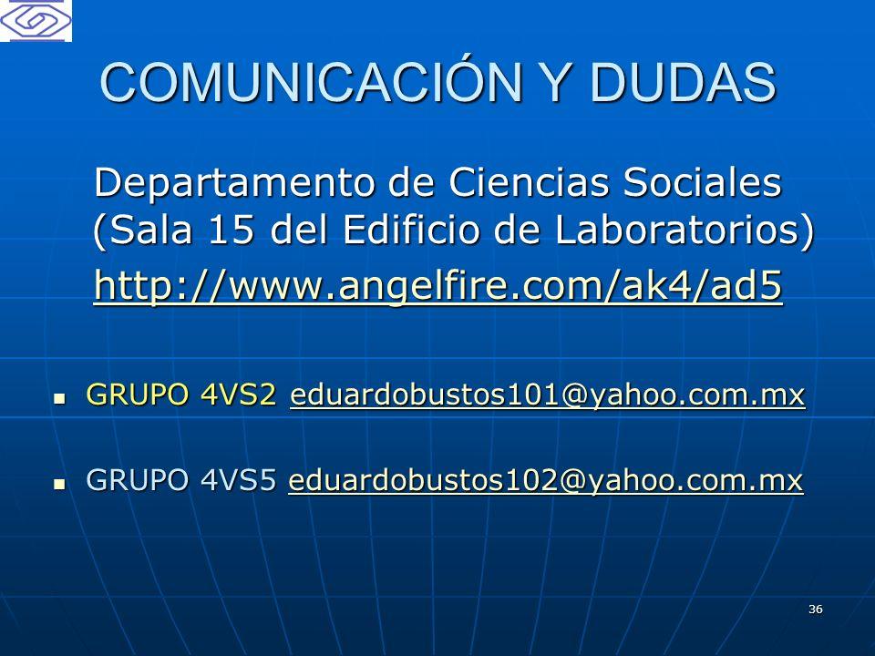 36 COMUNICACIÓN Y DUDAS Departamento de Ciencias Sociales (Sala 15 del Edificio de Laboratorios) http://www.angelfire.com/ak4/ad5 GRUPO 4VS2 eduardobu