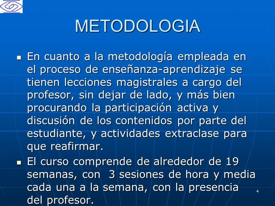 4 METODOLOGIA En cuanto a la metodología empleada en el proceso de enseñanza-aprendizaje se tienen lecciones magistrales a cargo del profesor, sin dej