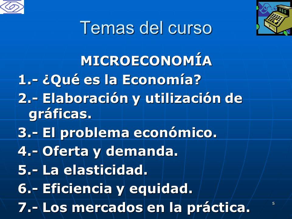 5 Temas del curso MICROECONOMÍA 1.- ¿Qué es la Economía? 2.- Elaboración y utilización de gráficas. 3.- El problema económico. 4.- Oferta y demanda. 5