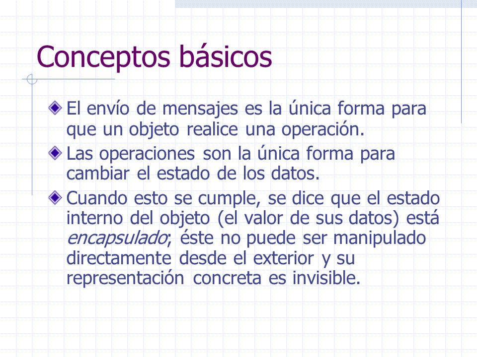 Conceptos básicos El envío de mensajes es la única forma para que un objeto realice una operación. Las operaciones son la única forma para cambiar el