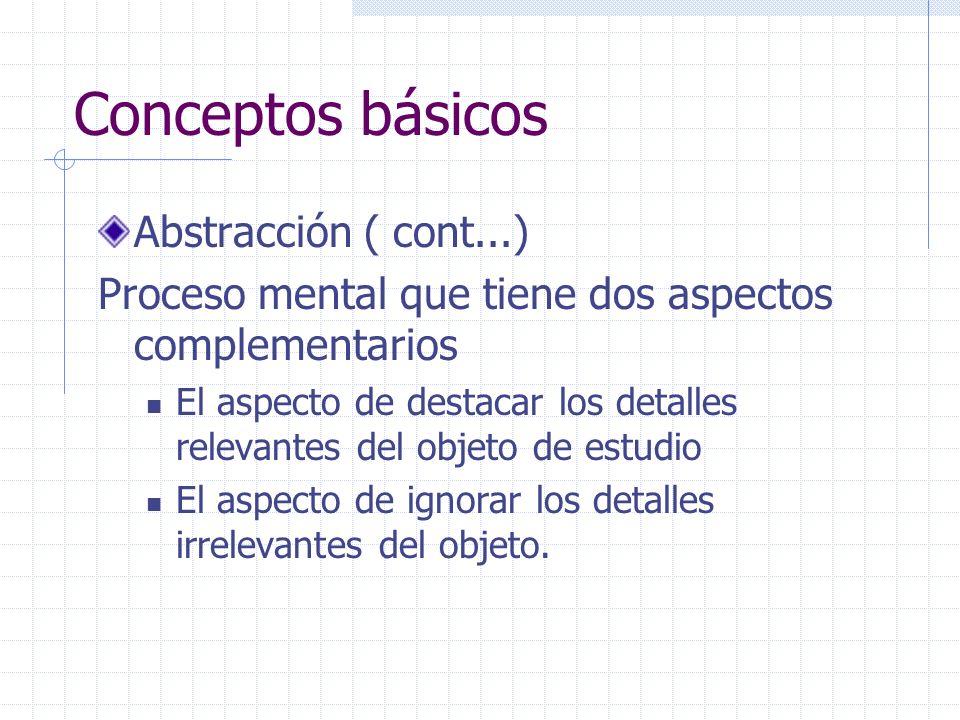 Conceptos básicos Abstracción ( cont...) Proceso mental que tiene dos aspectos complementarios El aspecto de destacar los detalles relevantes del obje