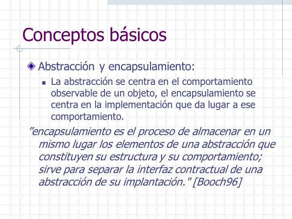 Conceptos básicos Abstracción y encapsulamiento: La abstracción se centra en el comportamiento observable de un objeto, el encapsulamiento se centra e
