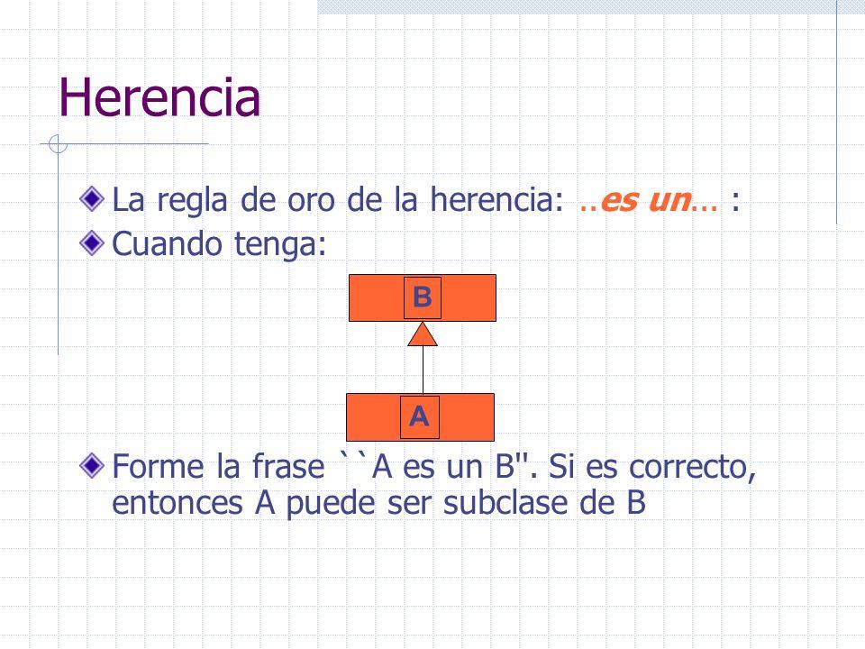 Herencia La regla de oro de la herencia:..es un... : Cuando tenga: Forme la frase ``A es un B''. Si es correcto, entonces A puede ser subclase de B B