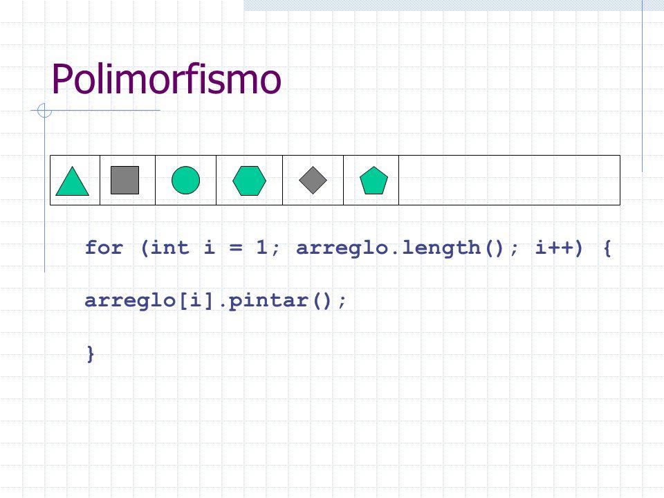 Polimorfismo for (int i = 1; arreglo.length(); i++) { arreglo[i].pintar(); }