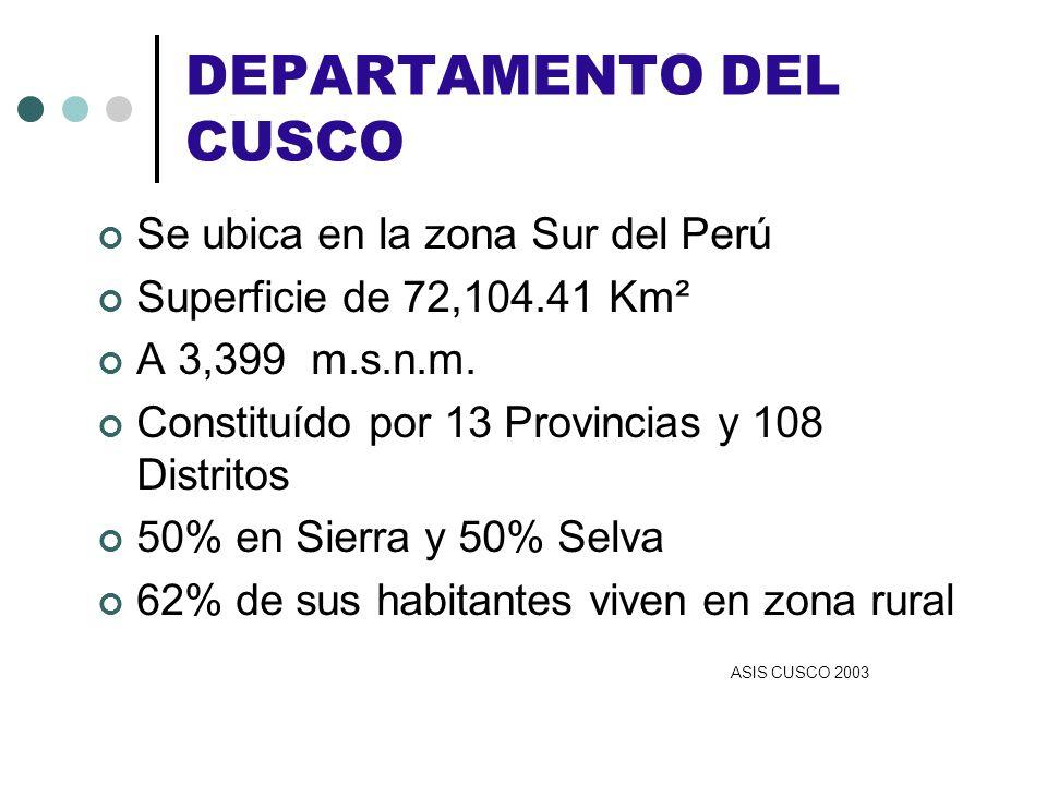 DEPARTAMENTO DEL CUSCO Se ubica en la zona Sur del Perú Superficie de 72,104.41 Km² A 3,399 m.s.n.m. Constituído por 13 Provincias y 108 Distritos 50%
