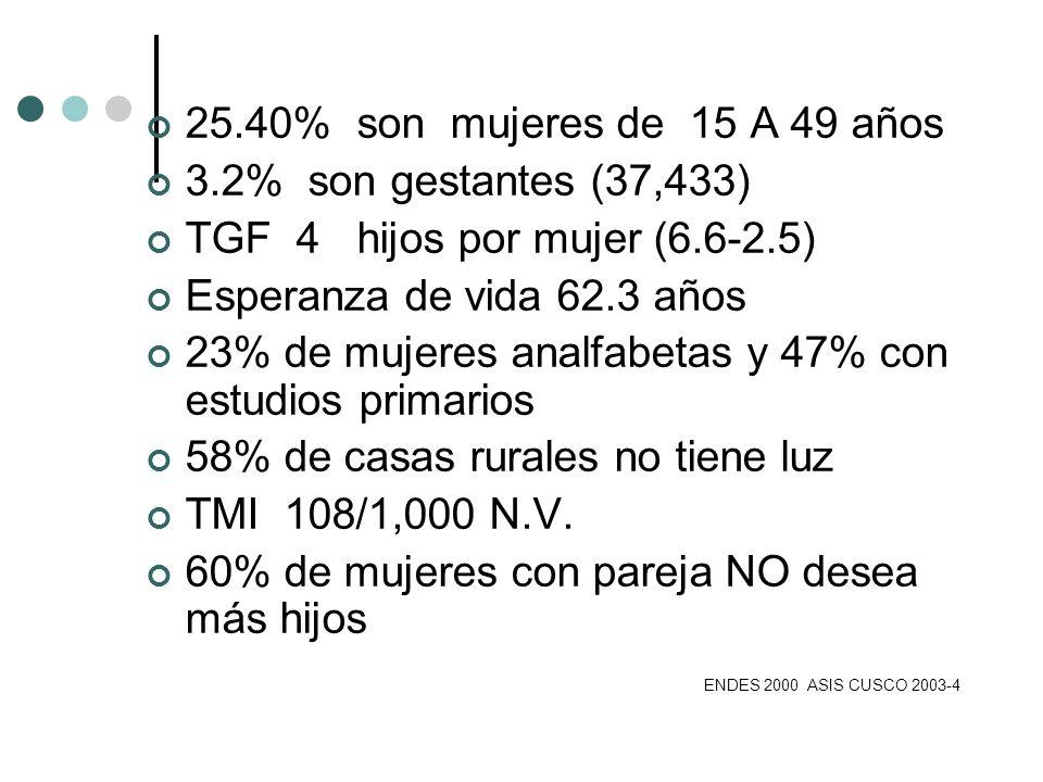 25.40% son mujeres de 15 A 49 años 3.2% son gestantes (37,433) TGF 4 hijos por mujer (6.6-2.5) Esperanza de vida 62.3 años 23% de mujeres analfabetas