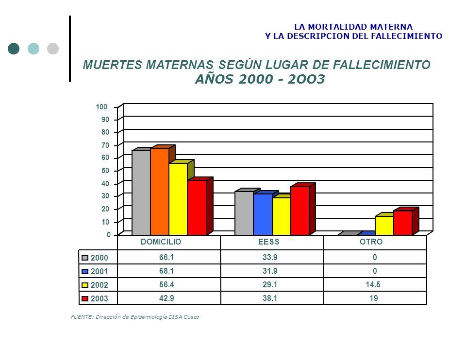 MUERTES MATERNAS SEGÚN LUGAR DE FALLECIMIENTO AÑOS 2000 - 2OO3 LA MORTALIDAD MATERNA Y LA DESCRIPCION DEL FALLECIMIENTO FUENTE: Dirección de Epidemiol