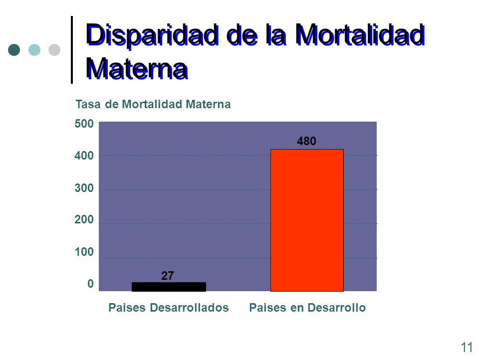11 0 100 200 300 400 500 Tasa de Mortalidad Materna Paises DesarrolladosPaises en Desarrollo Disparidad de la Mortalidad Materna 27 480