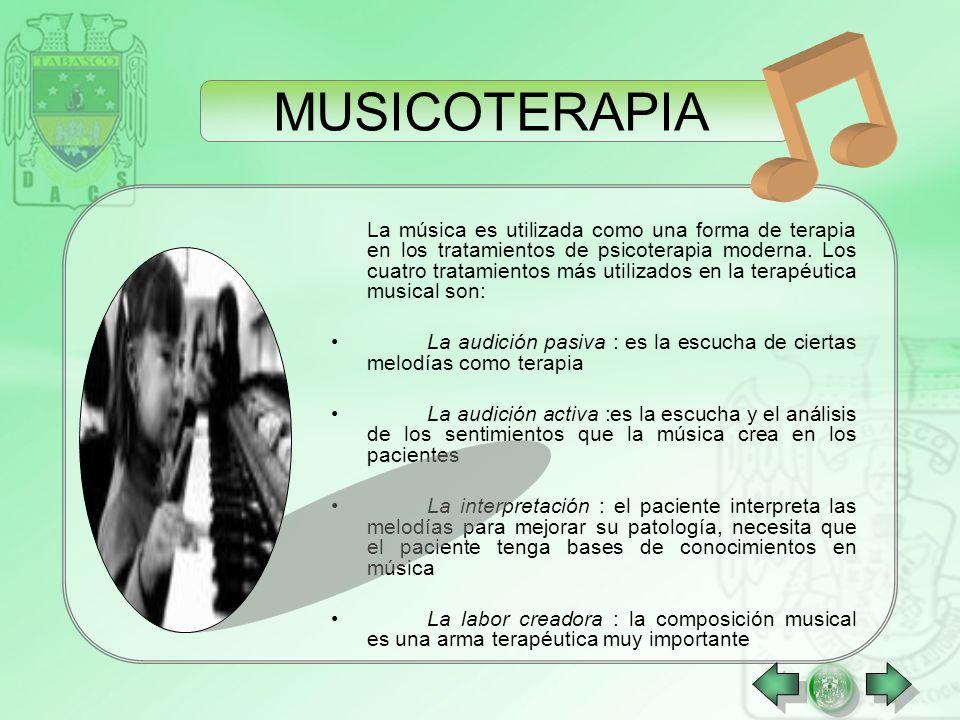 Se trata de la utilización de la realización o escucha musical para inducir un estado de relajación en el paciente y de favorizar la expresión de cier