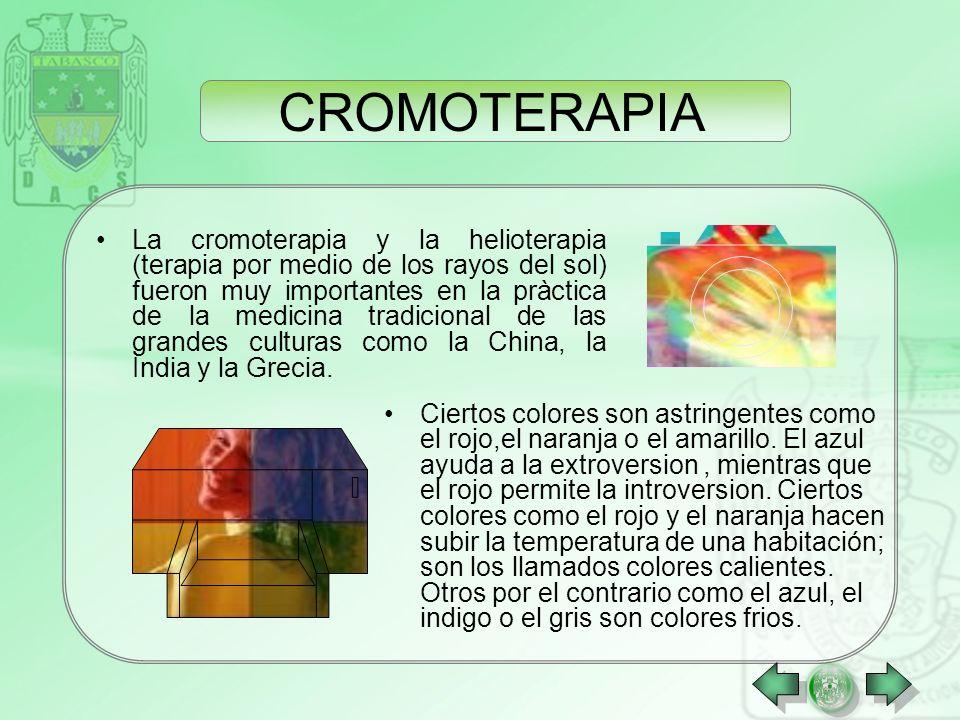 CROMOTERAPIA La cromoterapia es un método de armonización y de ayuda a la curación natural de ciertas enfermedades por medio de los colores. Los color