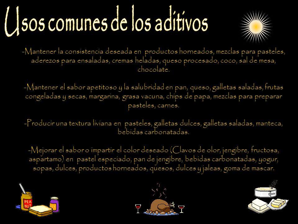 Los aditivos naturales: Algunos aditivos se elaboran a partir de fuentes naturales como la soja y el maíz, que proporciona la lecitina para mantener la consistencia del producto, o bien la remolacha, cuyo polvo se utiliza como colorante alimenticio.