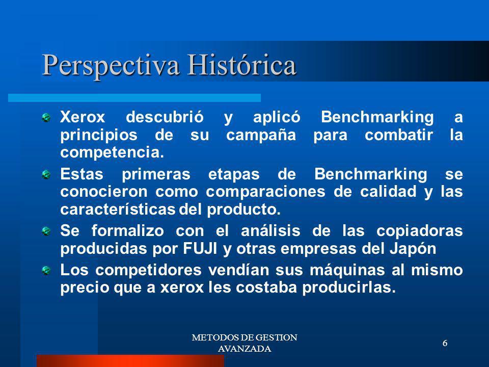 METODOS DE GESTION AVANZADA 7 Categorías del Benchmarking BENCHMARKING INTERNO Una de las investigaciones de Benchmarking más fácil es comparar operaciones internas.