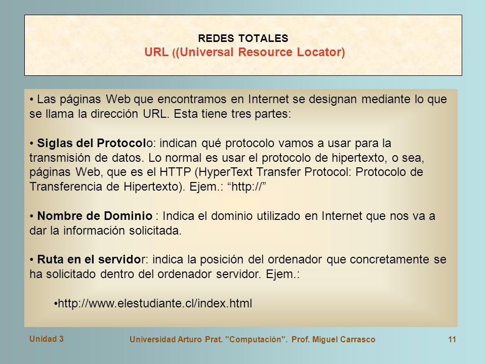Unidad 3 Universidad Arturo Prat. Computación . Prof.