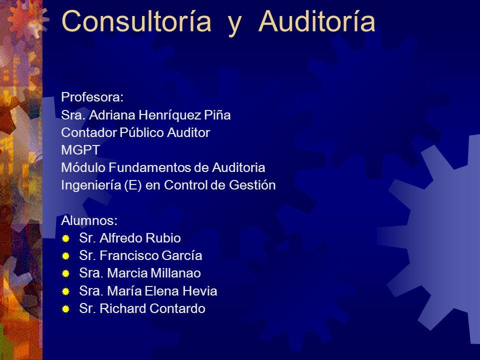 Consultoría y Auditoría Profesora: Sra. Adriana Henríquez Piña Contador Público Auditor MGPT Módulo Fundamentos de Auditoria Ingeniería (E) en Control