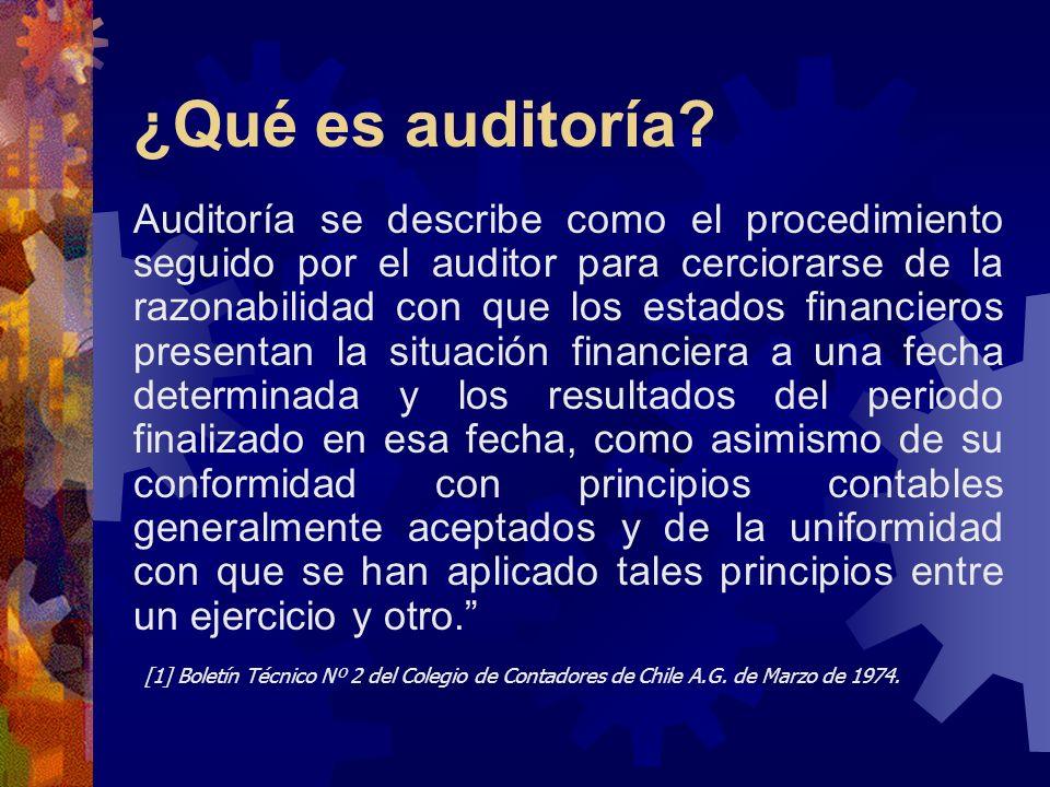 ¿Qué es auditoría? Auditoría se describe como el procedimiento seguido por el auditor para cerciorarse de la razonabilidad con que los estados financi