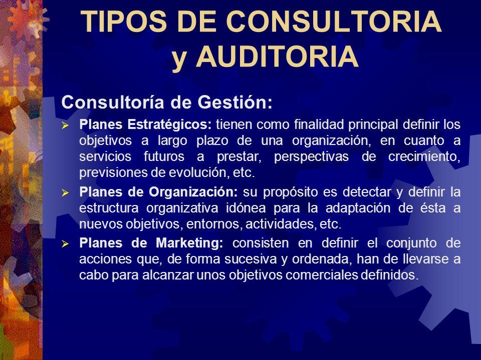 TIPOS DE CONSULTORIA y AUDITORIA Consultoría de Gestión: Planes Estratégicos: tienen como finalidad principal definir los objetivos a largo plazo de u