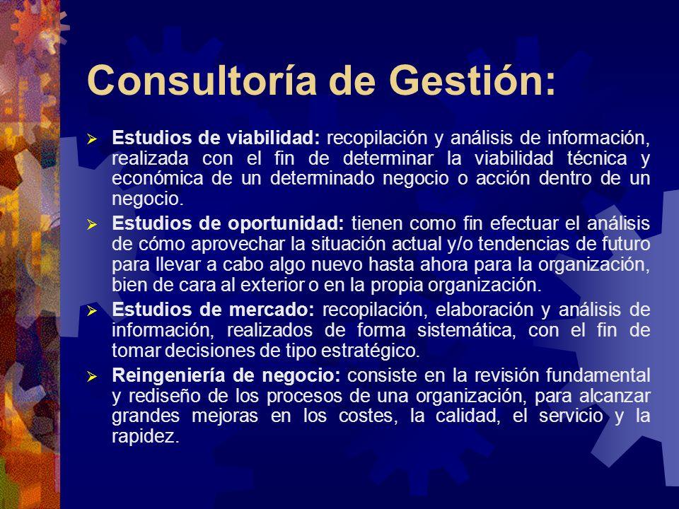 Consultoría de Gestión: Estudios de viabilidad: recopilación y análisis de información, realizada con el fin de determinar la viabilidad técnica y eco