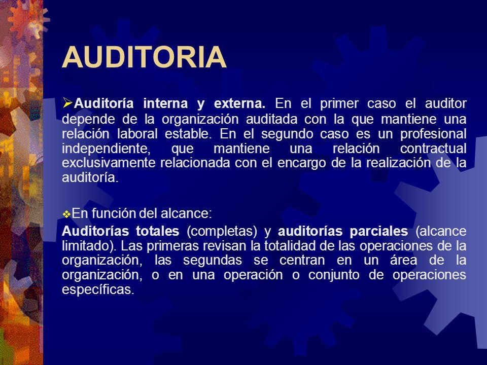 AUDITORIA Auditoría interna y externa. En el primer caso el auditor depende de la organización auditada con la que mantiene una relación laboral estab