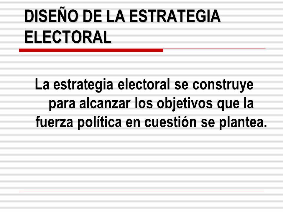 DISEÑO DE LA ESTRATEGIA ELECTORAL La estrategia electoral se construye para alcanzar los objetivos que la fuerza política en cuestión se plantea.
