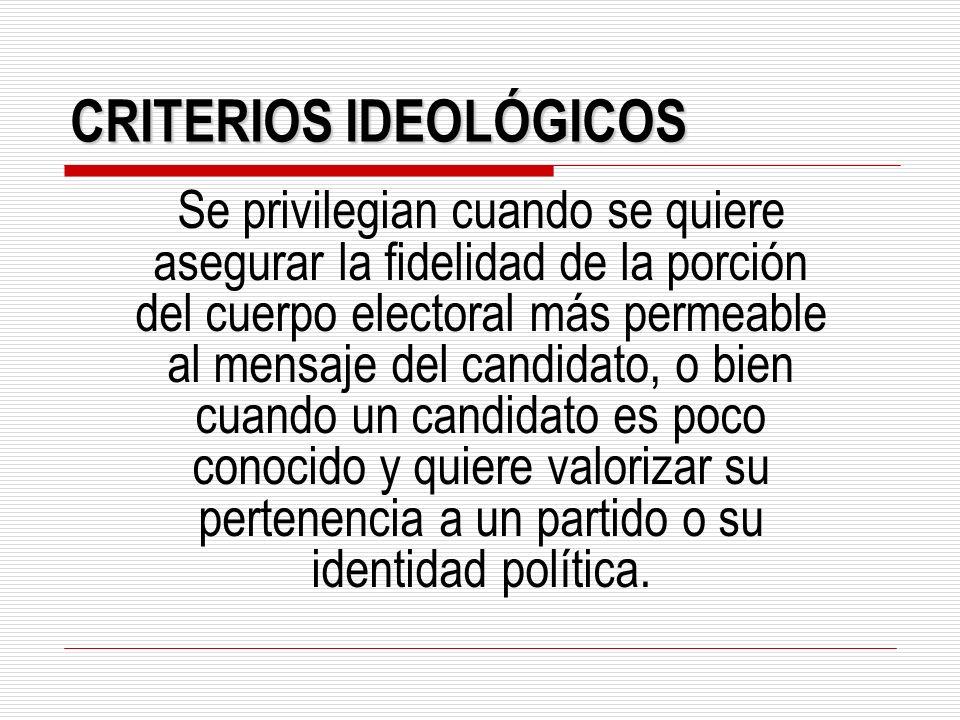 CRITERIOS IDEOLÓGICOS Se privilegian cuando se quiere asegurar la fidelidad de la porción del cuerpo electoral más permeable al mensaje del candidato,