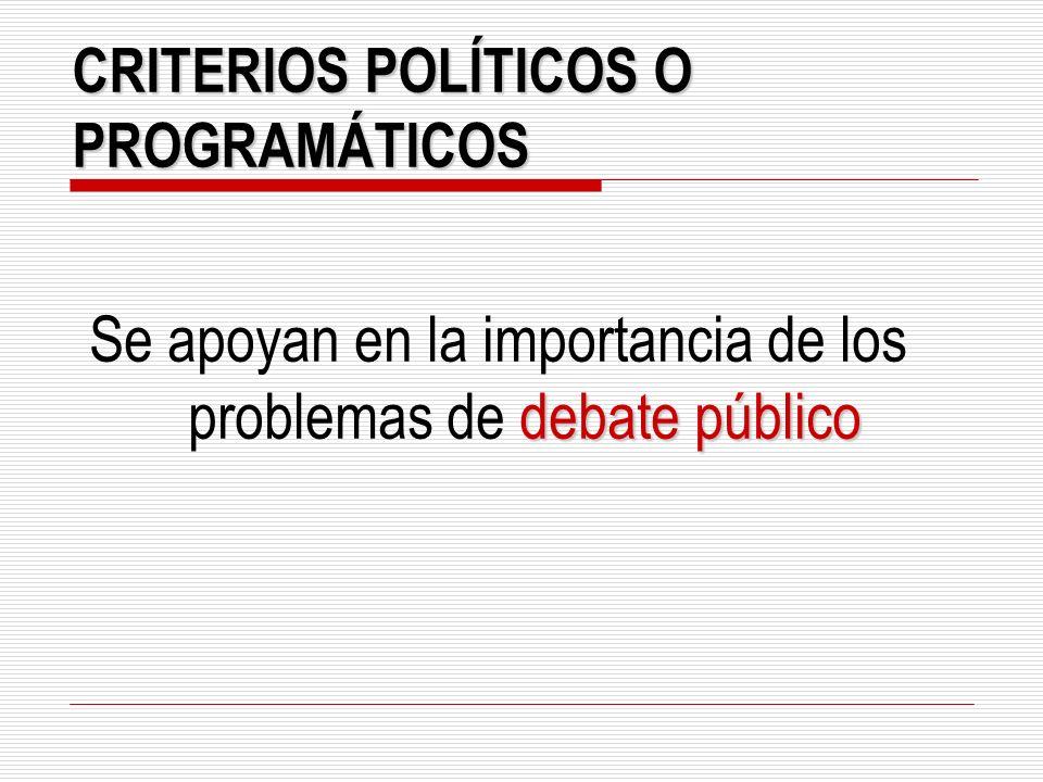 CRITERIOS POLÍTICOS O PROGRAMÁTICOS debate público Se apoyan en la importancia de los problemas de debate público