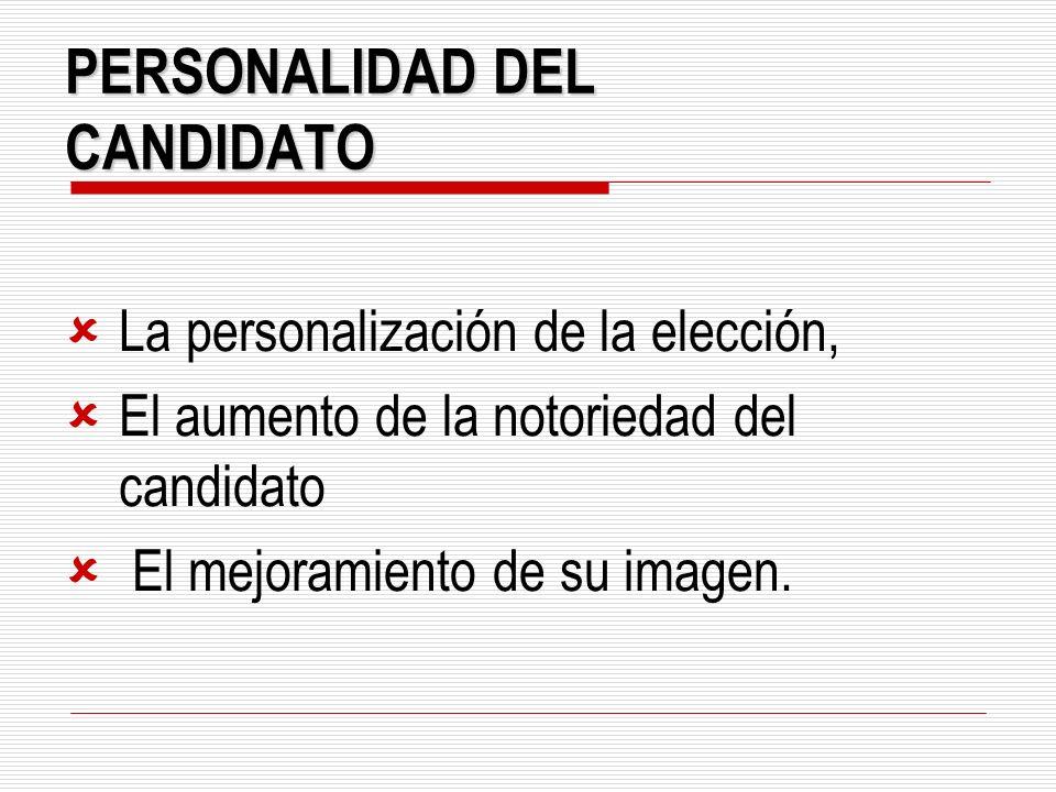 PERSONALIDAD DEL CANDIDATO La personalización de la elección, El aumento de la notoriedad del candidato El mejoramiento de su imagen.