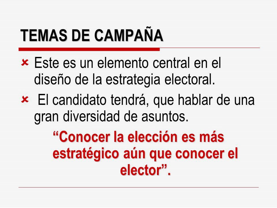 TEMAS DE CAMPAÑA Este es un elemento central en el diseño de la estrategia electoral. El candidato tendrá, que hablar de una gran diversidad de asunto