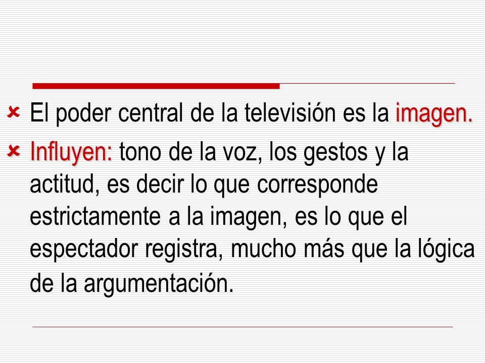 imagen. El poder central de la televisión es la imagen. Influyen: Influyen: tono de la voz, los gestos y la actitud, es decir lo que corresponde estri