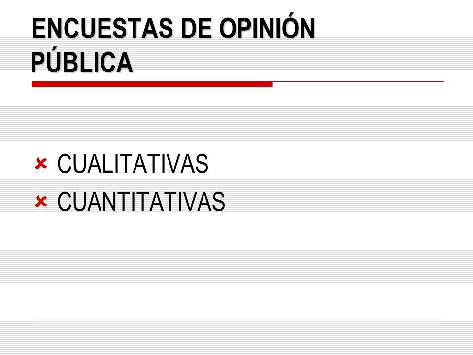 E NCUESTAS DE OPINIÓN PÚBLICA CUALITATIVAS CUANTITATIVAS