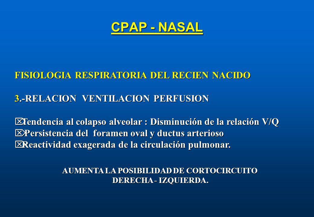 CPAP - NASAL FISIOLOGIA RESPIRATORIA DEL RECIEN NACIDO 3.-RELACION VENTILACION PERFUSION Tendencia al colapso alveolar : Disminución de la relación V/