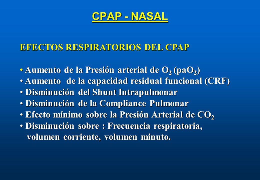 CPAP - NASAL EFECTOS RESPIRATORIOS DEL CPAP Aumento de la Presión arterial de O 2 (paO 2 ) Aumento de la Presión arterial de O 2 (paO 2 ) Aumento de l