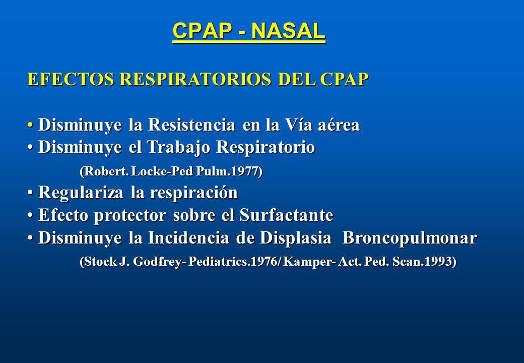 CPAP - NASAL EFECTOS RESPIRATORIOS DEL CPAP Disminuye la Resistencia en la Vía aérea Disminuye la Resistencia en la Vía aérea Disminuye el Trabajo Res