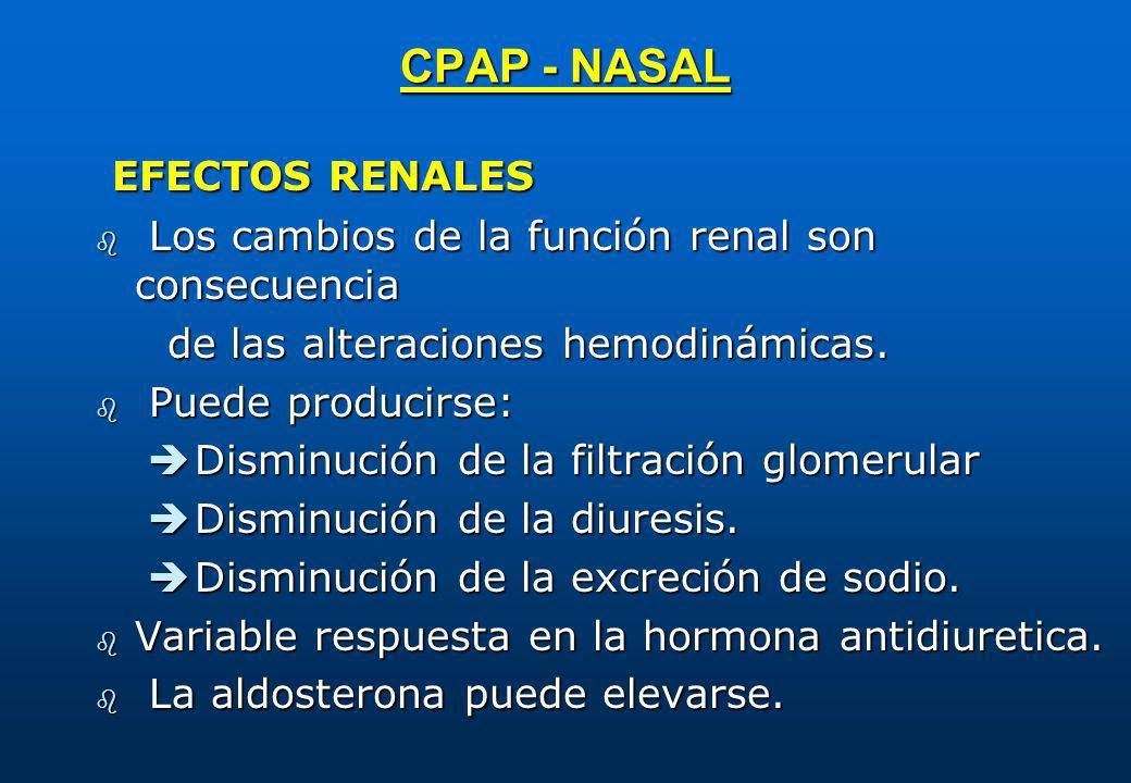 CPAP - NASAL EFECTOS RENALES EFECTOS RENALES b Los cambios de la función renal son consecuencia de las alteraciones hemodinámicas. de las alteraciones