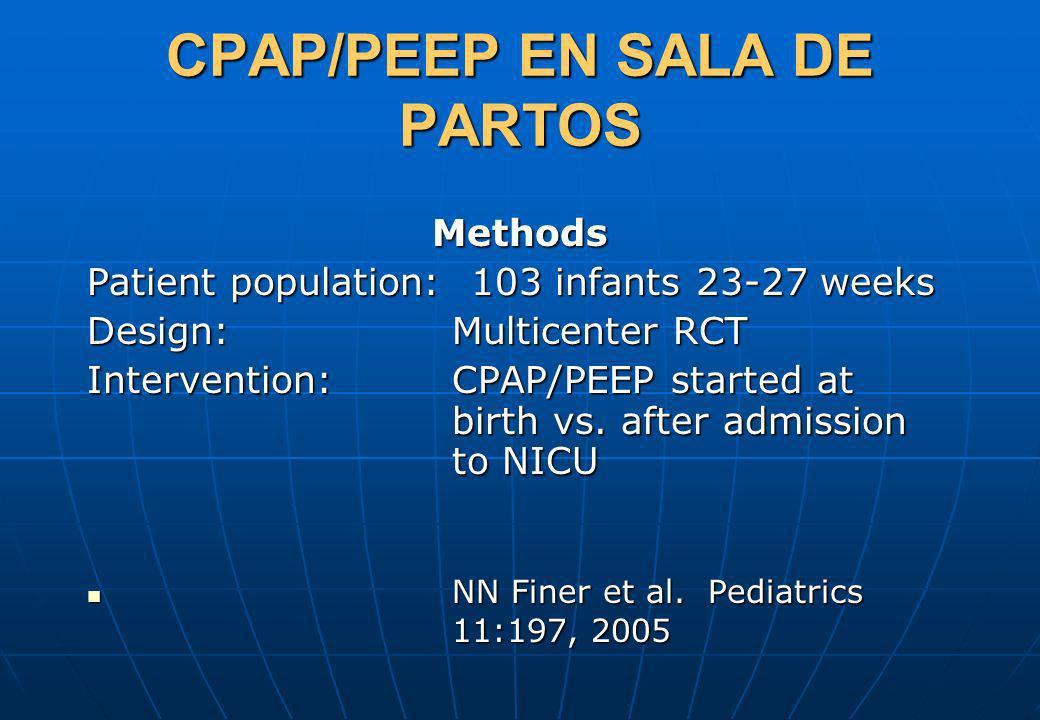 CPAP/PEEP EN SALA DE PARTOS Methods Patient population: 103 infants 23-27 weeks Design:Multicenter RCT Intervention:CPAP/PEEP started at birth vs. aft