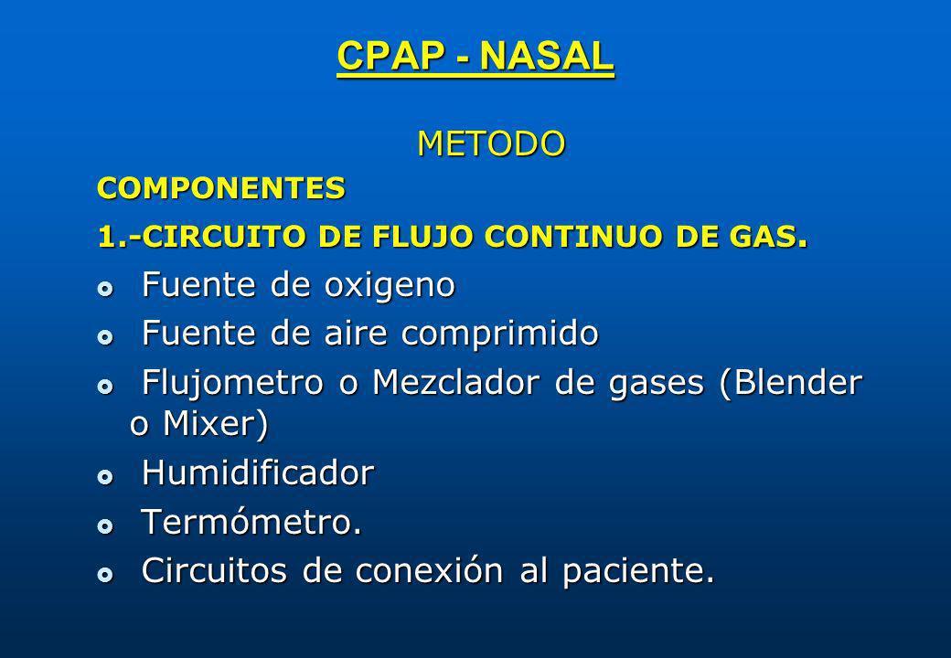 CPAP - NASAL METODOCOMPONENTES 1.-CIRCUITO DE FLUJO CONTINUO DE GAS. Fuente de oxigeno Fuente de oxigeno Fuente de aire comprimido Fuente de aire comp