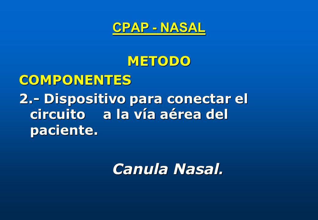 METODOCOMPONENTES 2.- Dispositivo para conectar el circuito a la vía aérea del paciente. Canula Nasal. Canula Nasal.