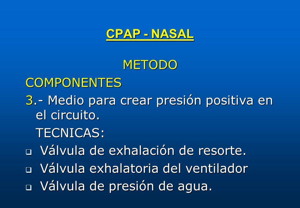 METODOCOMPONENTES 3.- Medio para crear presión positiva en el circuito. TECNICAS: q Válvula de exhalación de resorte. q Válvula exhalatoria del ventil