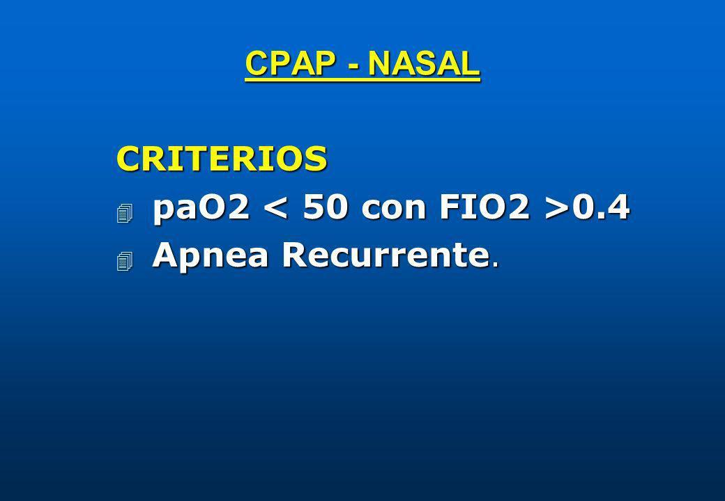 CPAP - NASAL CRITERIOS 4 paO2 0.4 4 Apnea Recurrente.