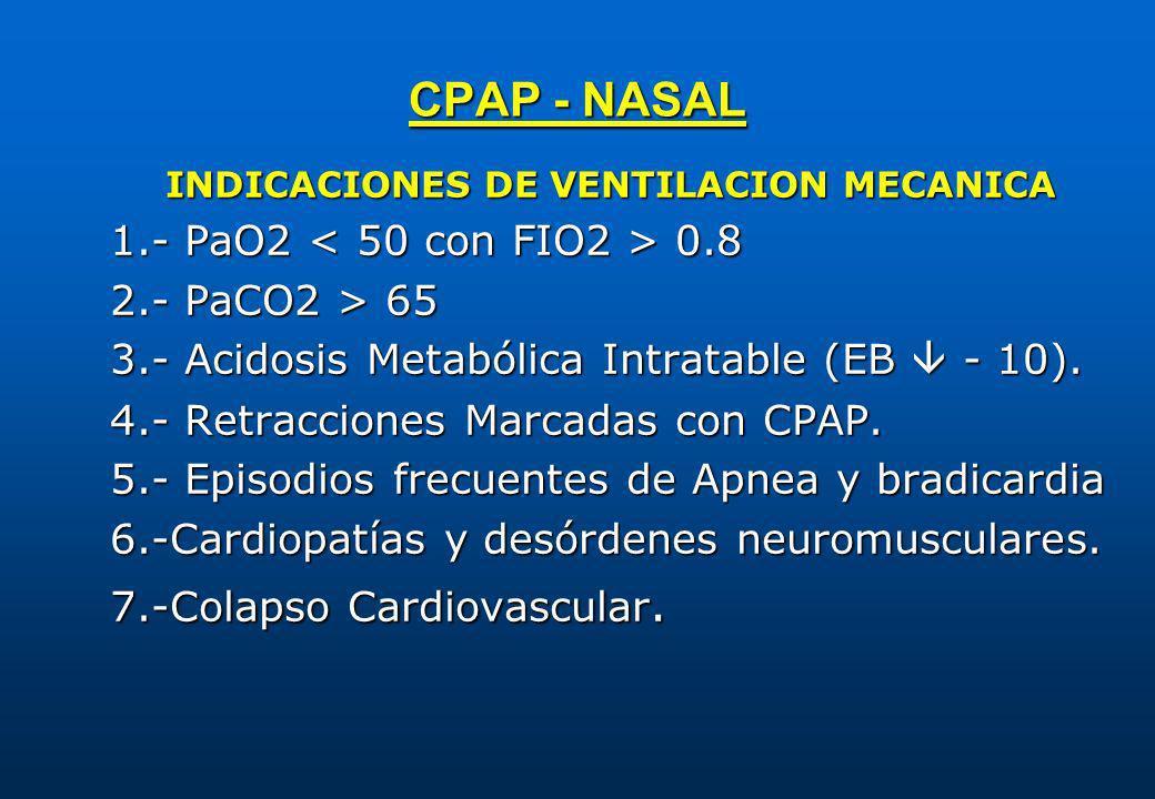 CPAP - NASAL INDICACIONES DE VENTILACION MECANICA 1.- PaO2 0.8 2.- PaCO2 > 65 3.- Acidosis Metabólica Intratable (EB - 10). 4.- Retracciones Marcadas
