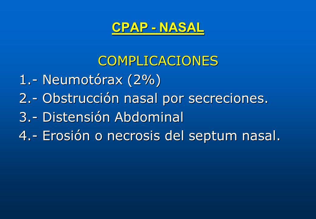 CPAP - NASAL COMPLICACIONES 1.- Neumotórax (2%) 2.- Obstrucción nasal por secreciones. 3.- Distensión Abdominal 4.- Erosión o necrosis del septum nasa