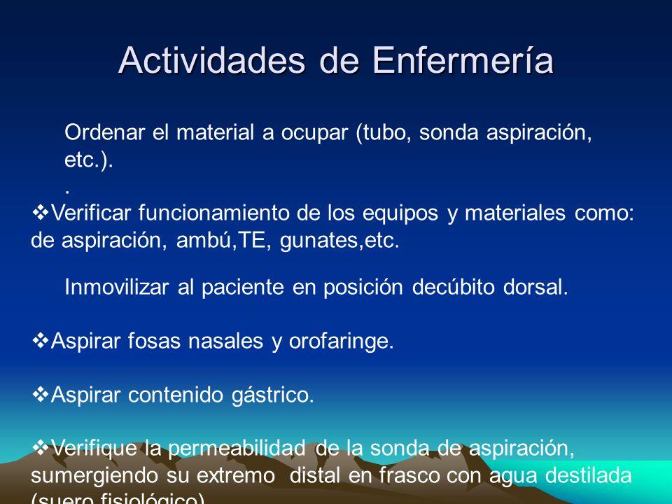 Actividades de Enfermería Ordenar el material a ocupar (tubo, sonda aspiración, etc.).. Verificar funcionamiento de los equipos y materiales como: de