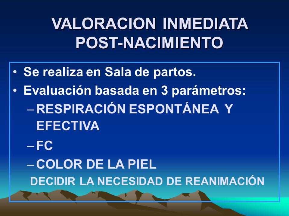 VALORACION INMEDIATA POST-NACIMIENTO Se realiza en Sala de partos. Evaluación basada en 3 parámetros: –RESPIRACIÓN ESPONTÁNEA Y EFECTIVA –FC –COLOR DE