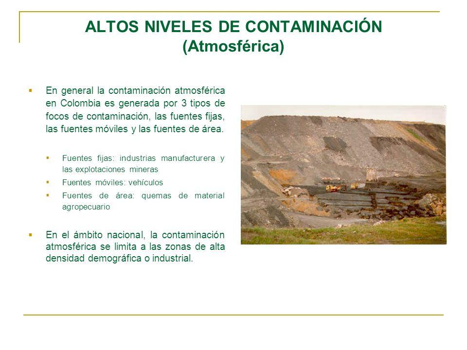 ALTOS NIVELES DE CONTAMINACIÓN (Atmosférica) En general la contaminación atmosférica en Colombia es generada por 3 tipos de focos de contaminación, la