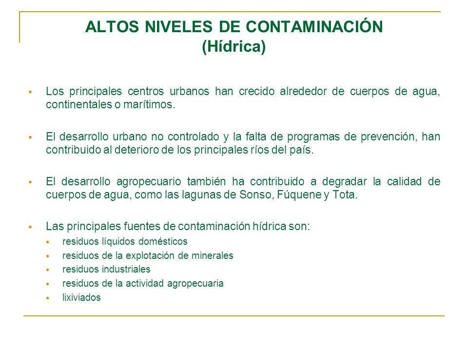 ALTOS NIVELES DE CONTAMINACIÓN (Hídrica) Los principales centros urbanos han crecido alrededor de cuerpos de agua, continentales o marítimos. El desar