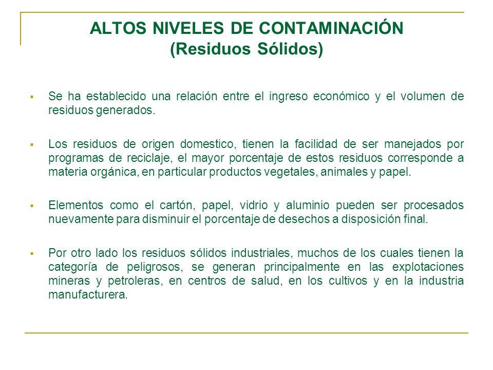 ALTOS NIVELES DE CONTAMINACIÓN (Residuos Sólidos) Se ha establecido una relación entre el ingreso económico y el volumen de residuos generados. Los re