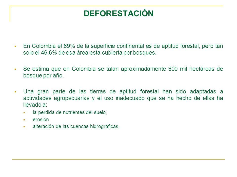 DEFORESTACIÓN En Colombia el 69% de la superficie continental es de aptitud forestal, pero tan solo el 46,6% de esa área esta cubierta por bosques. Se