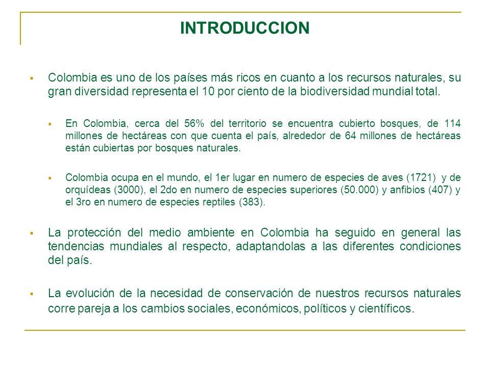 INTRODUCCION Colombia es uno de los países más ricos en cuanto a los recursos naturales, su gran diversidad representa el 10 por ciento de la biodiver