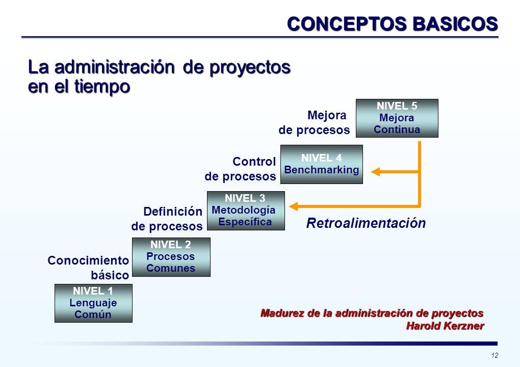 12 Madurez de la administración de proyectos Harold Kerzner NIVEL 1 Lenguaje Común NIVEL 2 Procesos Comunes NIVEL 3 Metodología Específica NIVEL 4 Ben