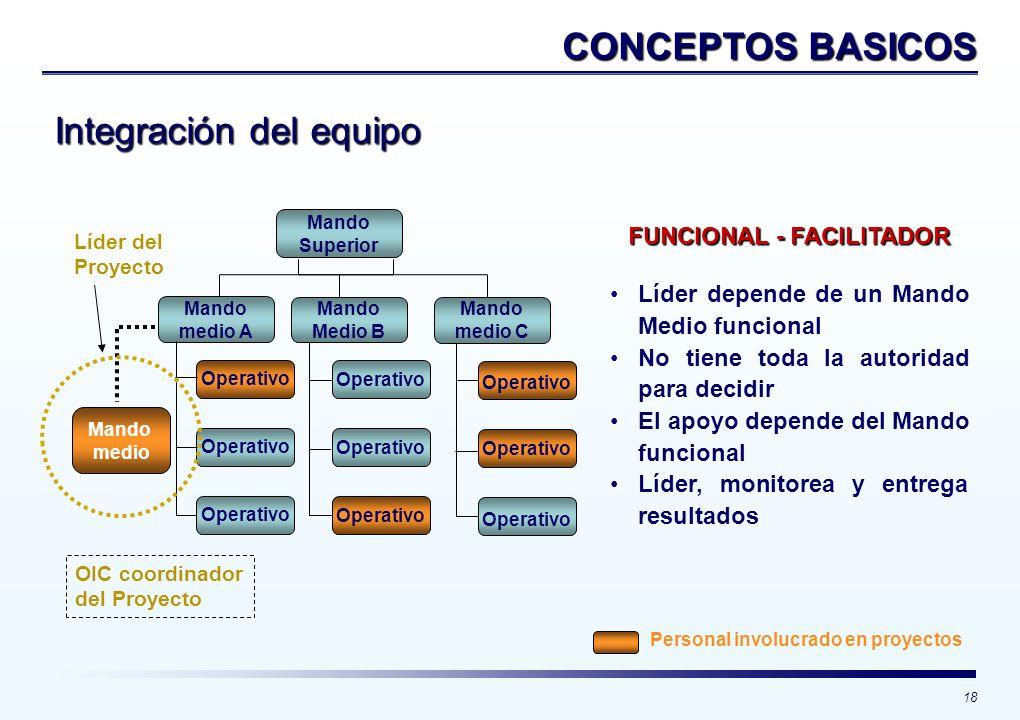 18 CONCEPTOS BASICOS Integración del equipo Mando Superior Mando medio A Operativo Mando Medio B Mando medio C Operativo FUNCIONAL - FACILITADOR Líder