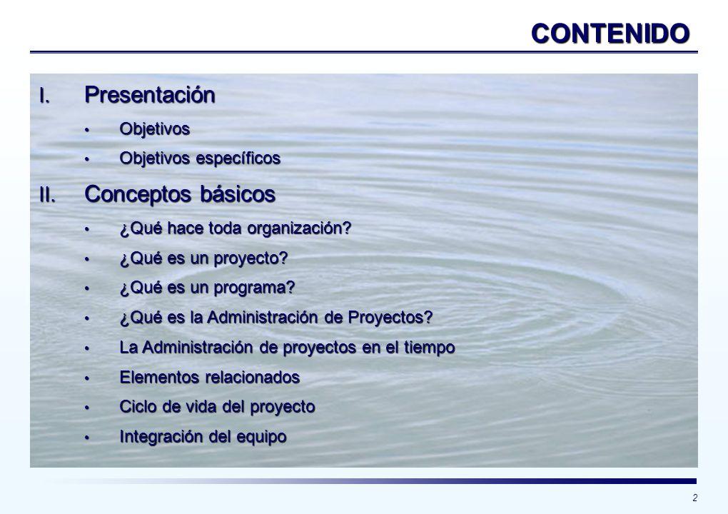 2 CONTENIDO I. Presentación Objetivos Objetivos Objetivos específicos Objetivos específicos II. Conceptos básicos ¿Qué hace toda organización? ¿Qué ha